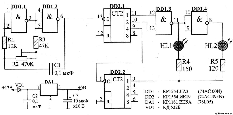 В этой сначала два раза моргает первый светодиод, затем два раза второй.  Скважность импульсов четыре.